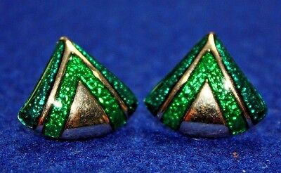 Personal Collection! Vintage Gold Tone & Irridescent Green Earrings Pierced