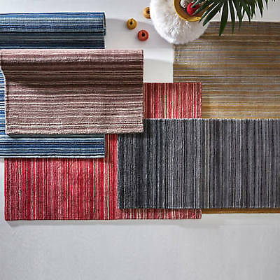 Fine stripes Rug By Origin Teal, Grey, Red, Natural 100% Wool, in Various Sizes