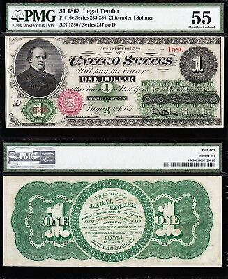Amazing *RARE* HIGH GRADE 1862 $1 GREENBACK Legal Tender Note! PMG 55! 1580