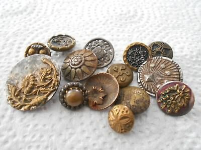 Antique/vintage 14 Early Metal Buttons All Different  #885