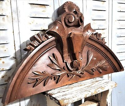 Solid Victory Hand Carved Wood Pediment Antique French Architectural Salvage