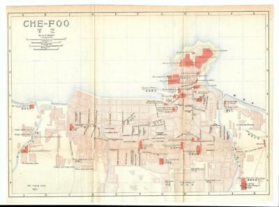 1915 IMPERIAL JAPANESE RAILWAY MAP of CHE-FOO CHINA
