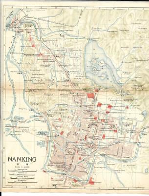 1915 IMPERIAL JAPANESE RAILWAY MAP of NANKING CHINA