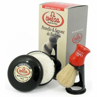 Omega 46065 Shaving Brush Set Pure Bristle Stand and 150 Milliliter Classic with