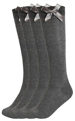 Girls Multipack Grey School Socks Long Knee High With Satin Bows Fashion Socks