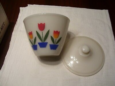Vtg Fire King Tulip Grease Jar Oven Ware Nice Ivory