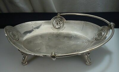Antique Simpson Hall Miller Medallion Silver Plated Basket     51002