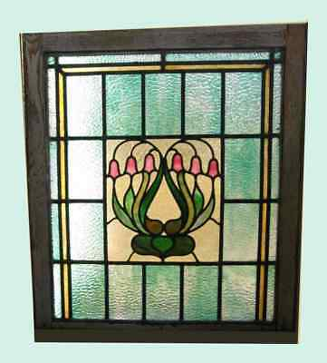 """Antique Stained Glass Window  Sash 28""""x 31"""" Pink Art Nouveau Flower Pale Green"""