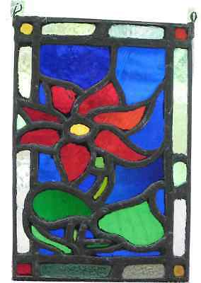 Stained Glass Hanging Poinsettia Flower Intense Colors Thick Lead Antique