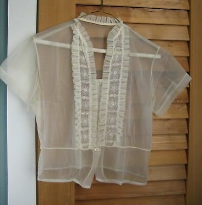 Vintage Sheer Blouse ~ Button Front ~ Short Sleeve