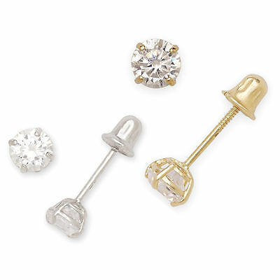 Wellingsale 14K Yellow Gold Polished 6mm Round Solitaire Basket Style Prong Set Stud Earrings With Pushback