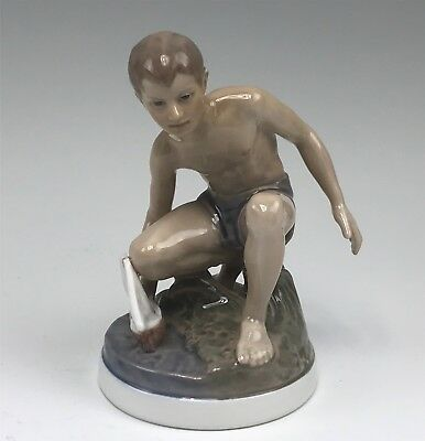 Outstanding Dahl Jensen Denmark Figurine, Boy With Sailboat #1245