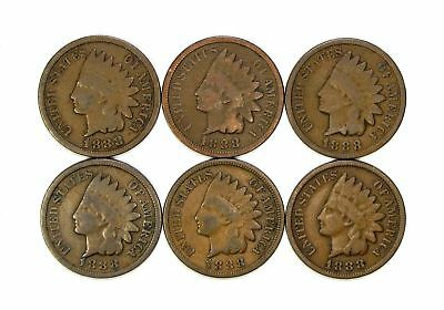 Lot of 6 1888 1c Indian Head Cent Pennies G Good Light Blemishes #122890