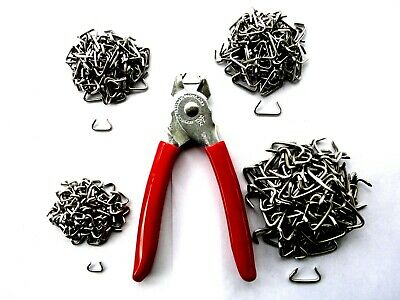 Hog ring fasteners kit, four sizes of stainless steel rings with pliers