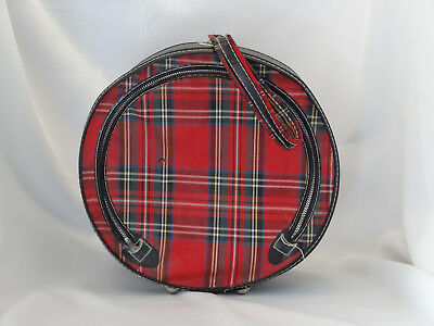 Vintage Hat Wig Box Travel Case Carry On Luggage Bag Checkered Vinyl