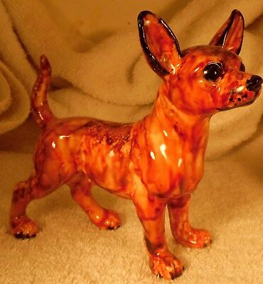 Dog Figurine SMOOTH CHIHUAHUA Red Porcelain Standing 1980's England VERY NICE