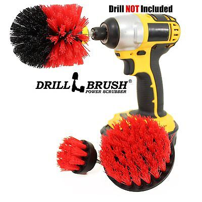 Drill Powered Heavy Duty Stiff Bristle Scrub Brush Kit - Outdoor Power Scrubber