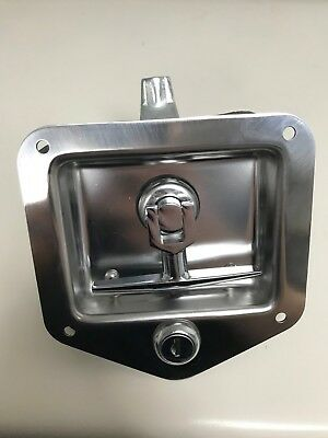 New and Unused Stainless Steel Flush Mount Locking Latch with T-handle