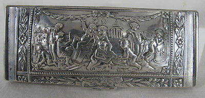 Antique 800 German Silver Friedrich Reusswig Repousse Cherub Eyeglass Case yqz