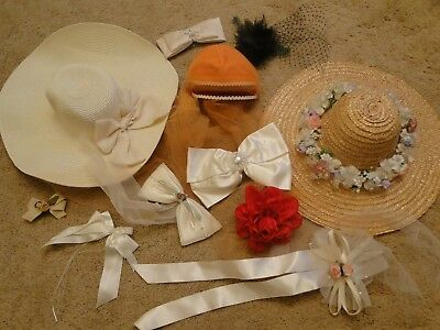 Vintage antique lot of 11 LADIES HATS Pillbox/netting/feathers & more 1950-1980s