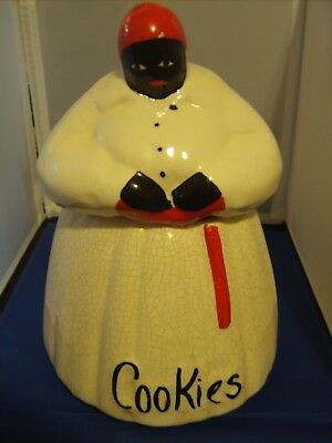 McCoy Cookie Jar Red Aunt Jemima Style Vintage Black Lady with Red Scarf