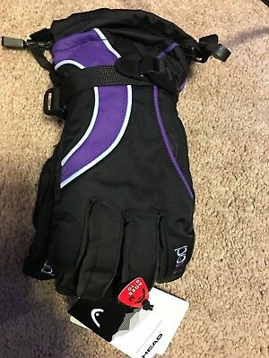 Head Jr KIDS Ski Gloves Black/Purple Size Medium Ages 6-10