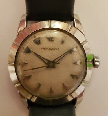 Wittnauer Vintage Art Deco Swiss Watch 17 Jewels Manual Winding Stainless Steel