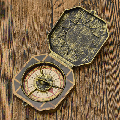 1Pc Vintage Style Gold Steampunk Cosplay Pirate Compass Platic Toy Accessories