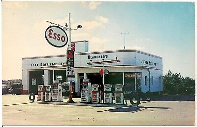 Klanchar's Esso Service Station on Lincoln Highway in Irwin PA Postcard