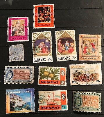 Bahamas  postage stamps lot of 12 old.         F