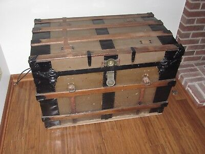 Antique Steamer Trunk Large Size With Oak Wood Sliders And Metal Trim!!