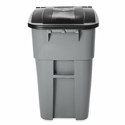 50Gal Gray Recycle Bin Trash Can W/ Lid Mobile Plastic Waste Container Wheel New