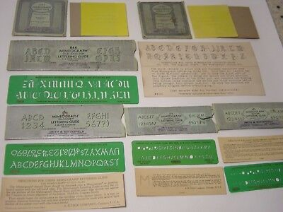 Vintage Lot Mimeograph Stencils Lettering Guides Old English Shadow Screen Frame