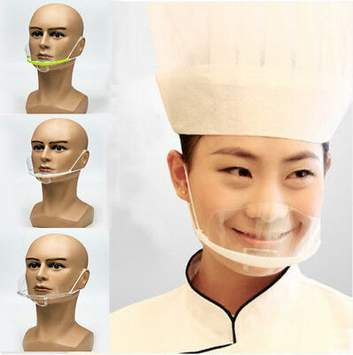 10 PCs Transparent Reusable Catering Mask Mouth-muffle Chef Kitchen Restaurant