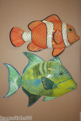 "(2)pcs, LIFELIKE TROPICAL FISH WALL DECOR, 12"" TROPICAL FISH WALL HANGING,F55,79"