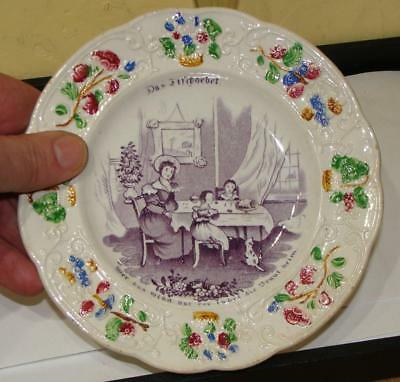 Staffordshire Childs Plate, Mother with Daughter Transfer, German Export,c. 1830