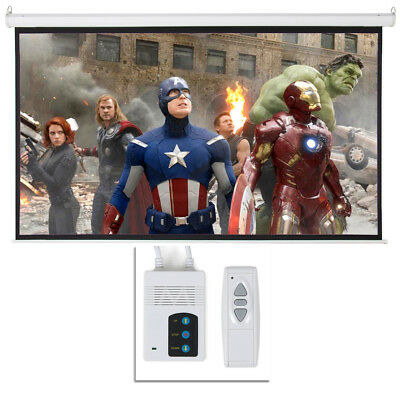 """New 100"""" 16:9 HD Foldable Electric Motorized Projector Screen + Remote Control"""