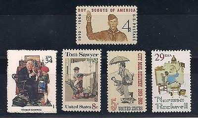 Norman Rockwell - Set Of 5 U.s. Postage Stamps - Mint Condition