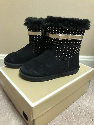 Toddler Girls Michael Kors Black Gold Boots Size 10