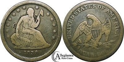 1838 25c Seated Liberty Silver Quarter original old type coin money 1st year