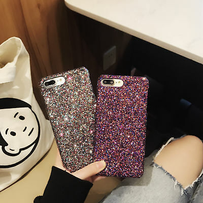For Apple iPhone 8 Plus 7 6s XS Bling Glitter Sparkly Slim Skin Phone Cover Case