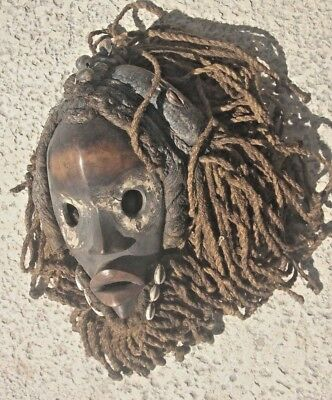 "MASKED MALE  DAN RACER MASK with ROPE HEAD DRESS, SHELLS, SEEDS  10 ""     WOOD"