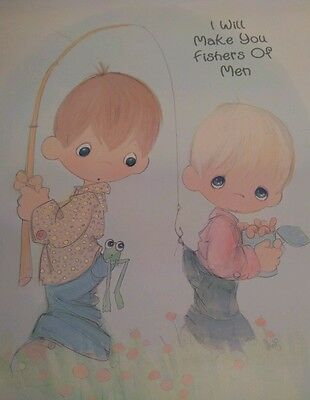 """PRECIOUS MOMENTS """"fishers of men"""" portrait poster 16x11 NICE GIFT!"""