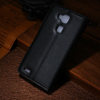 Black Flip PU Leather Case Card Slot Stand Cover Fashion Wallet For Smart Phone