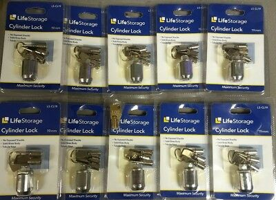 10 Pack Life Storage 19 mm Cylinder Lock With 3 Tubular Keys LS-CL19 Simply Lock