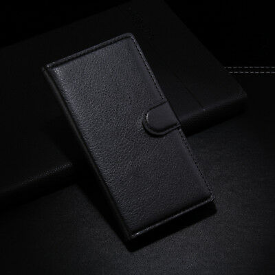 New PU Leather Flip Case Card Slot Wallet Stand Pouch Cover Magnetic Skin Black