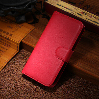 Red Flip PU Leather Case Card Slot Stand Cover Fashion Wallet For Smart Phone