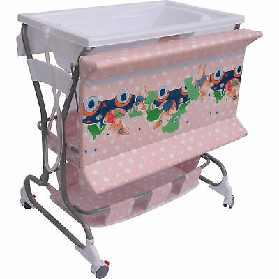 Baby Dresser Station Infant Rolling Changing Table Unit Pad Tray Bath Tub Pink