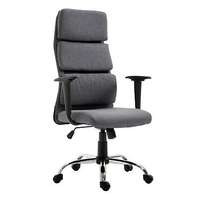 Office Chair Thick Padded Adjustable Executive Computer Seat Grey Home