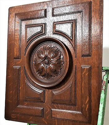 Hand Carved Wood Panel Antique French Oak Gothic Rosace Architectural Salvage